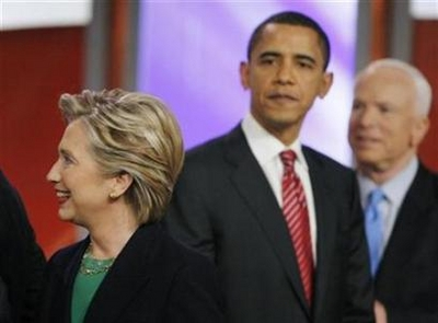 As maverick John McCain stares longingly at Sen. Obama, Barack in turns stares longingly at Hillary.  Damn this unrequited love triangle.